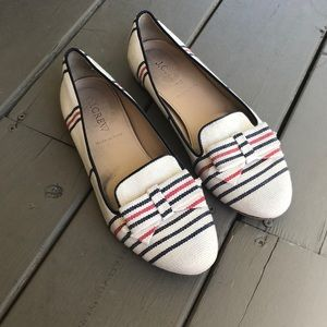 JCrew striped canvas flats.